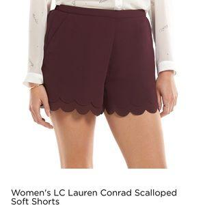 Lauren Conrad Maroon Scalloped shorts